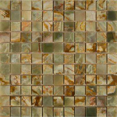 Green 12 in. x 12 in. x 10 mm Polished Onyx Mesh-Mounted Mosaic Tile (10 sq. ft. / case)