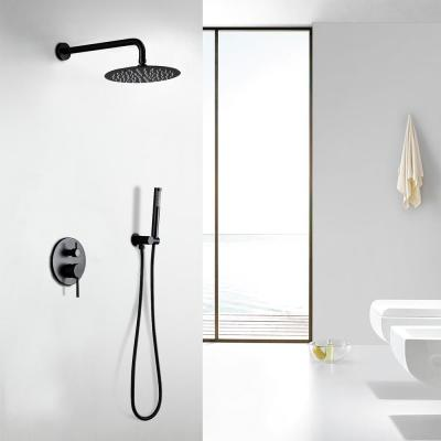 1-Spray Patterns 1.8 GPM 10 in. Dual Shower Head and Handheld Shower Head with Body Spray in Matte Black