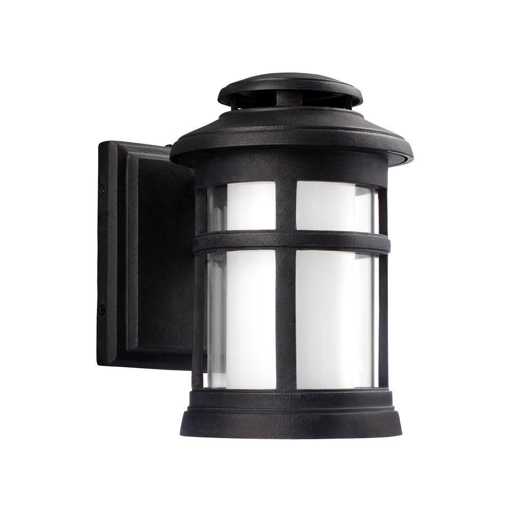 Oakfield 1-Light Dark Weathered Zinc Outdoor Integrated LED Wall Mount Lantern Fixture