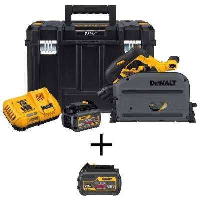 60-Volt MAX Lithium Ion Cordless Brushless 6-1/2 in. Track Saw Kit w/ Bonus FLEXVOLT 20/60-Volt MAX Lithium Ion Battery