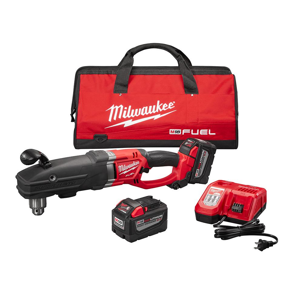 Milwaukee M18 FUEL 18-Volt Lithium-Ion Brushless Cordless Super Hawg 1/2 in. Right Angle Drill Kit W/(2) 9.0Ah Batteries, Tool Bag