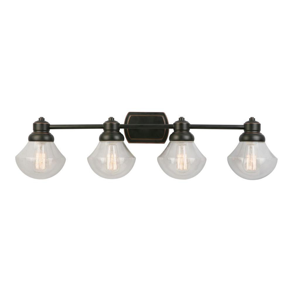 Titan Lighting Kensall Green 1 Light Oil Rubbed Bronze Bath Light Tn 31061 The Home Depot