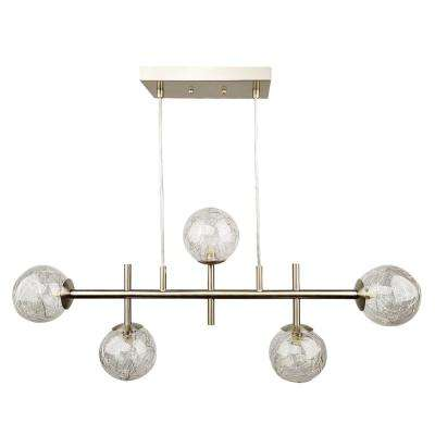 Cora 5-Light Brushed Nickel Linear Island Light with Glass Globe Shades