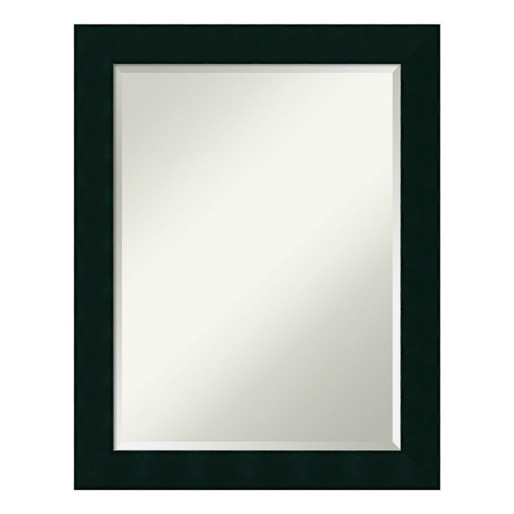 Tribeca Black Wood 22 in. x 28 in. Contemporary Bathroom Vanity Mirror