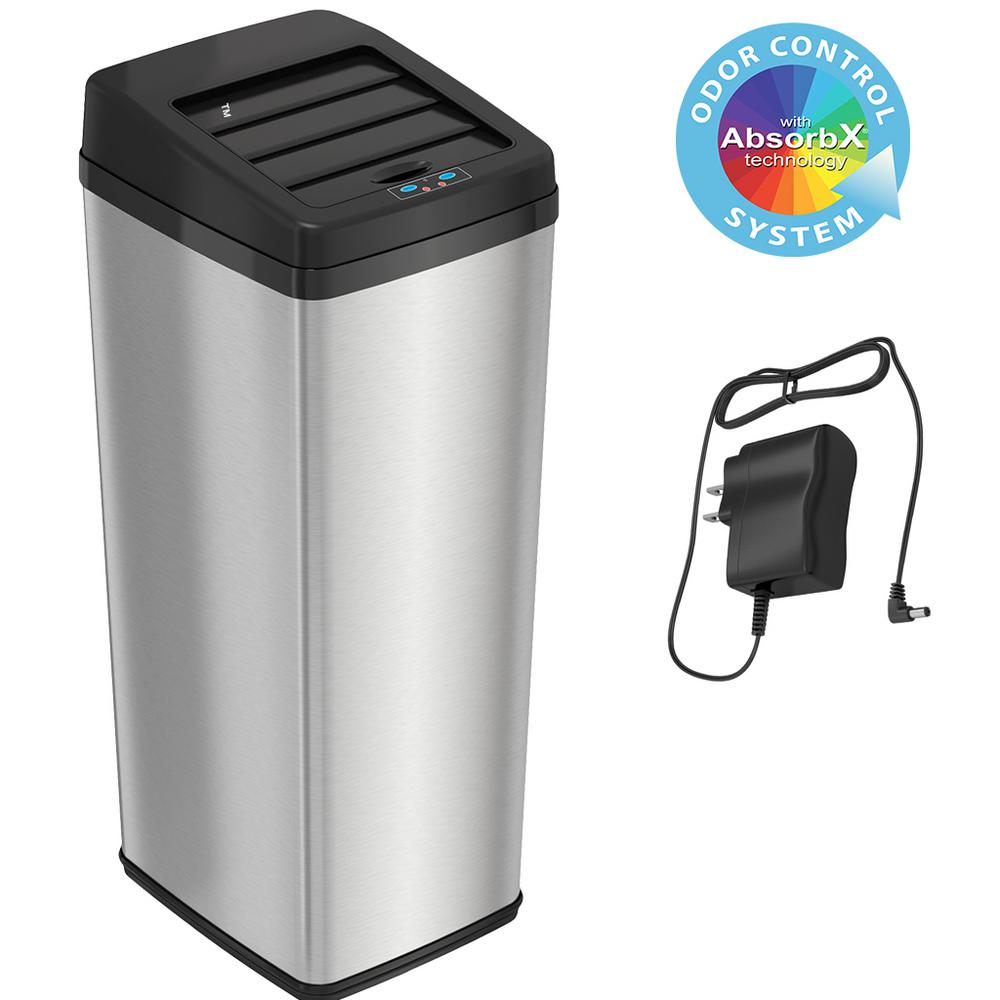 iTouchless 14 Gal. Stainless Steel Sliding-Lid Motion Sensing Touchless Trash Can