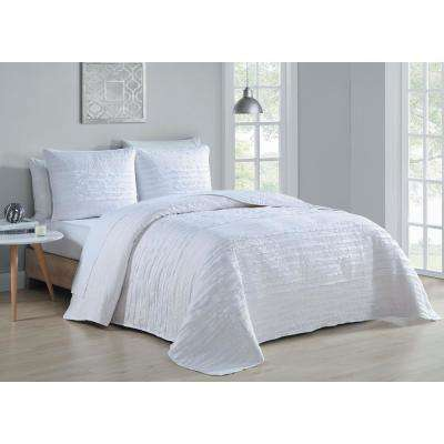 Spain 3-Piece White Queen Quilt Set