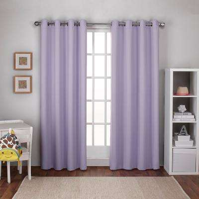 Textured Woven 52 in. W x 96 in. L Woven Blackout Grommet Top Curtain Panel in Lilac Purple (2 Panels)