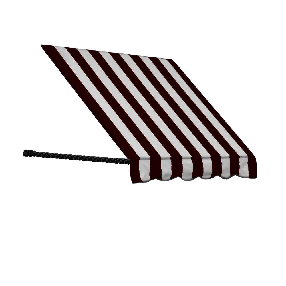 AWNTECH 6 ft. Santa Fe Twisted Rope Arm Window Awning (56 in. H x 36 in. D) in Black/White Stripe