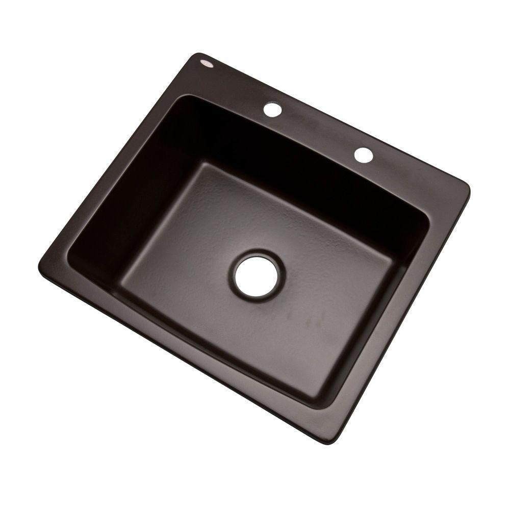 Northbrook Drop-In Composite Granite 25 in. 2-Hole Single Bowl Kitchen Sink in Espresso