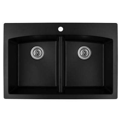 Drop-In Quartz Composite 33 in. 1-Hole 50/50 Double Bowl Kitchen Sink in Black