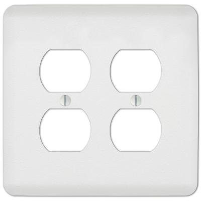 Perry 2 Gang Duplex Steel Wall Plate - White