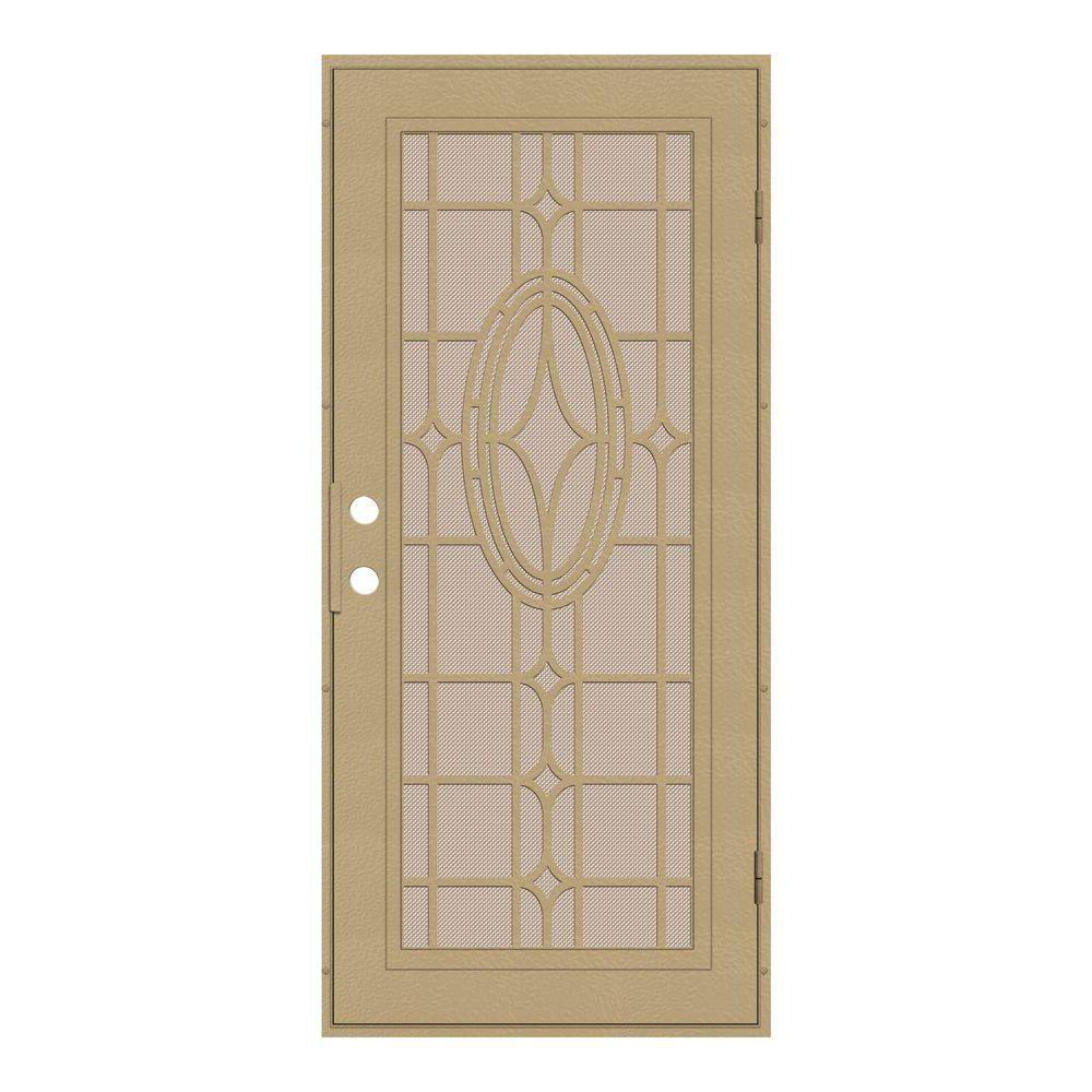Unique Home Designs 30 in. x 80 in. Modern Cross Desert Sand Right-Hand Surface Mount Security Door with Desert Sand Perforated Screen