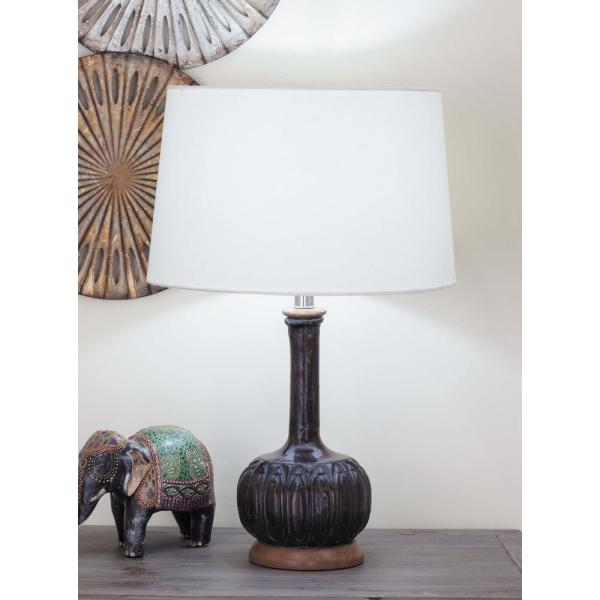 Litton Lane 24 in. Brown Wood Table Lamp with White Paper Mache Shade