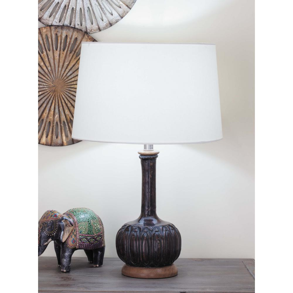 Brown Wood Table Lamp With White Paper Mache Shade 94547   The Home Depot