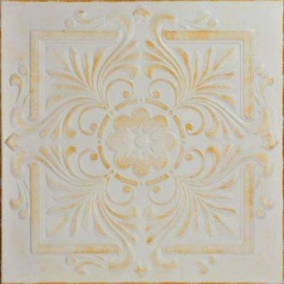 Victorian 1.6 ft. x 1.6 ft. Foam Glue-up Ceiling Tile in White Washed Gold
