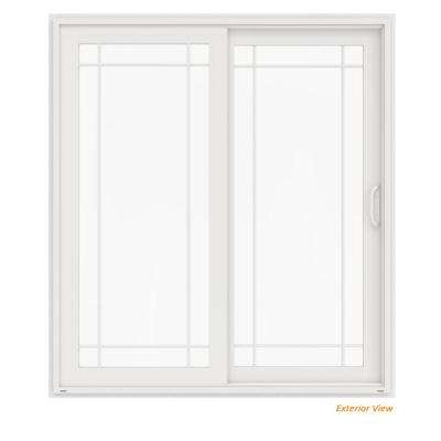 72 in. x 80 in. V-4500 White Vinyl Right-Hand 9 Lite Sliding Patio Door