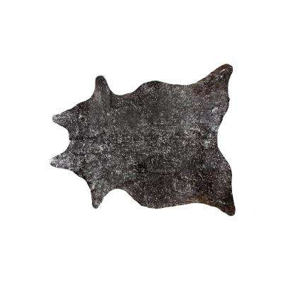 SCOTLAND COWHIDE CHOCOLATE & SILVER 6 ft. x 7 ft. AREA RUG