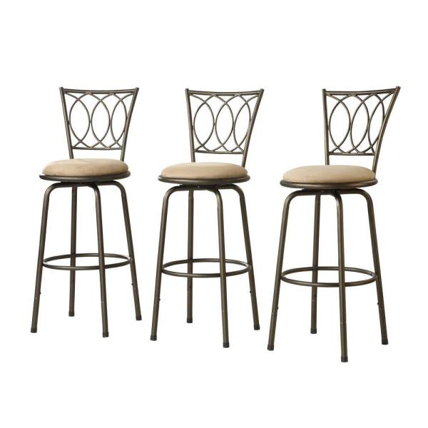 undefined Adjustable 24 in. H Scroll-Back Bar Stools (Set of 3)