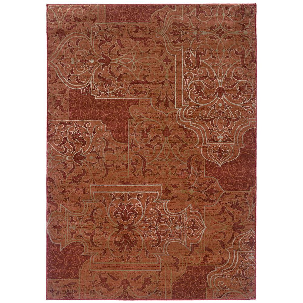 LR Resources Scroll-Work Mahogany 5 ft. 3 in. x 7 ft. 6 in. Plush Indoor Area Rug