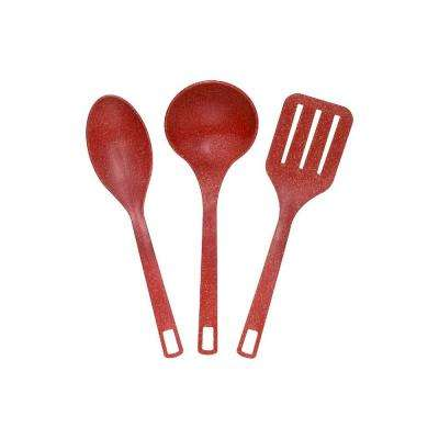 EVO Sustainable Goods Red Eco-Friendly Wood-Plastic Composite Serving Utensil Set (3-Pack)