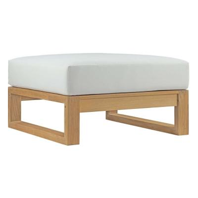 Upland Outdoor Patio Teak Ottoman in Natural with White Cushion