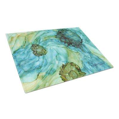 Abstract in Teal Flowers Tempered Glass Large Heat Resistant Cutting Board