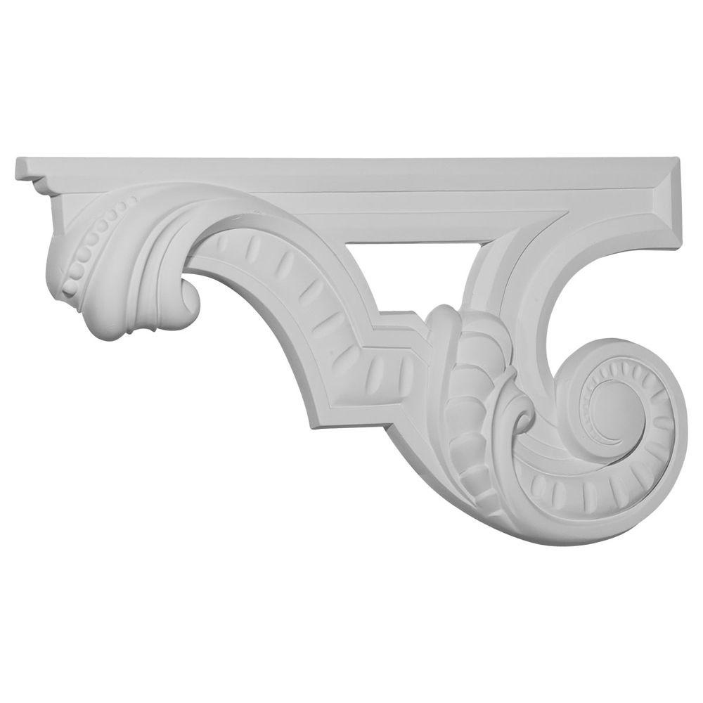 Ekena Millwork 12-3/8 in. x 3/4 in. x 6-5/8 in. Primed Polyurethane Scroll Left Stair Bracket