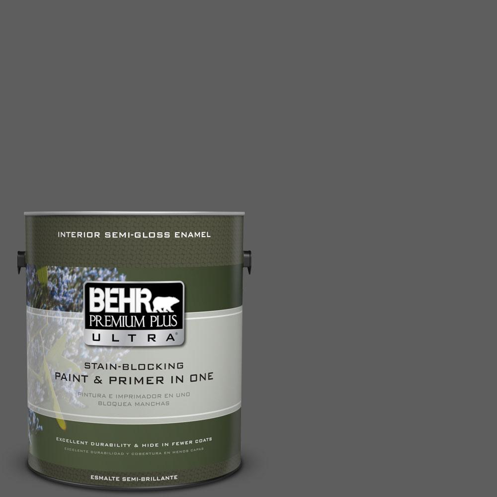 BEHR Premium Plus Ultra 1-gal. #N520-6 Asphalt Gray Semi-Gloss Enamel Interior Paint