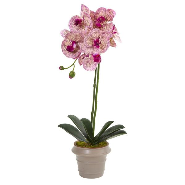 Nearly Natural 20 in. Designer Phalaenopsis Orchid Artificial Arrangement 4248