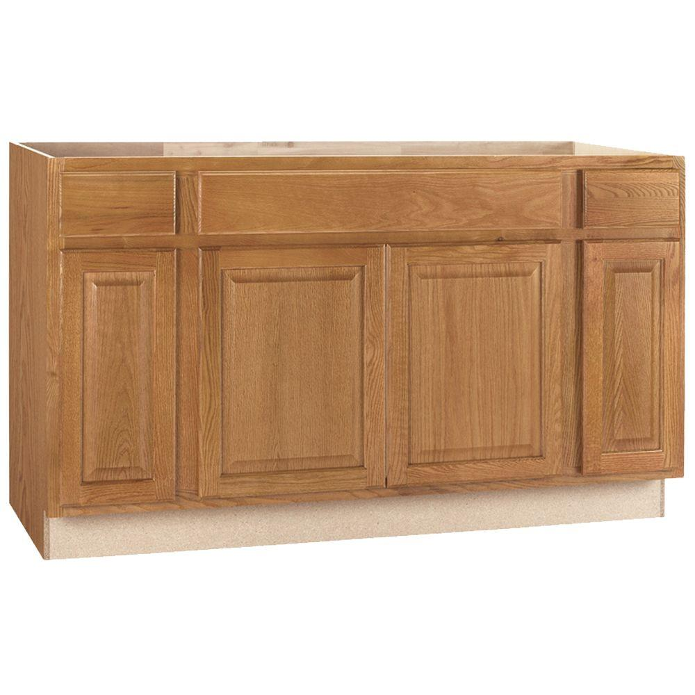Hampton Assembled 60x34.5x24 in. Sink Base Kitchen Cabinet in Medium Oak