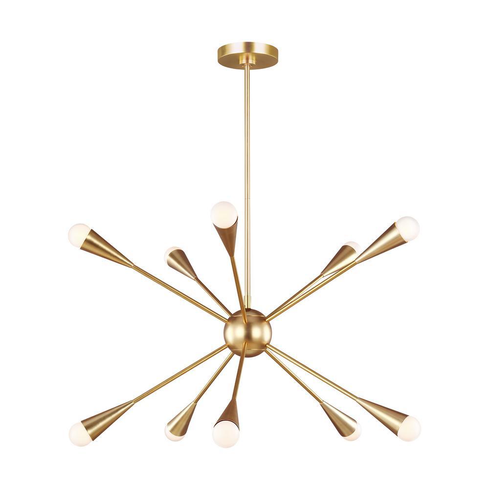 ED Ellen DeGeneres Crafted by Generation Lighting Jax 27.25 in. W 10-Light Burnished Brass Chandelier with Swivel Canopy