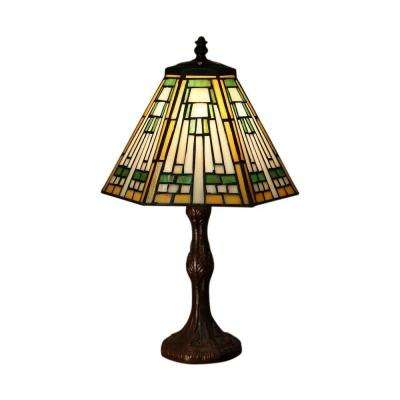 Kaye 16 in. Bronze Indoor Tiffany-Style Table Lamp with Multi-Color Shade