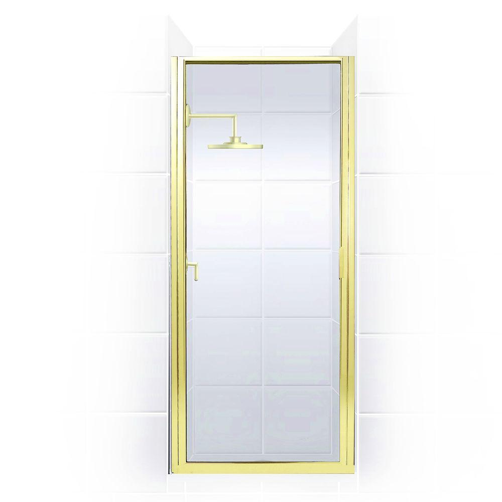 Coastal Shower Doors Paragon Series 25 in. x 65 in. Framed Continuous Hinged Shower Door in Gold with Clear Glass