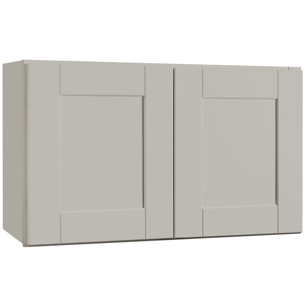 Hampton Bay Shaker Assembled 30x18x12 in. Wall Bridge Kitchen Cabinet in Dove Gray