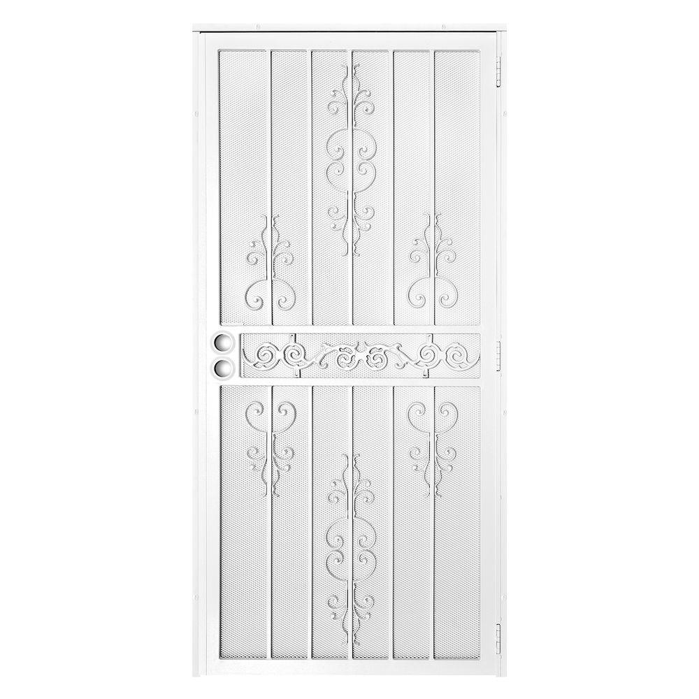 El Dorado White Surface Mount Outswing Steel Security Door With Heavy Duty Expanded Metal Screen