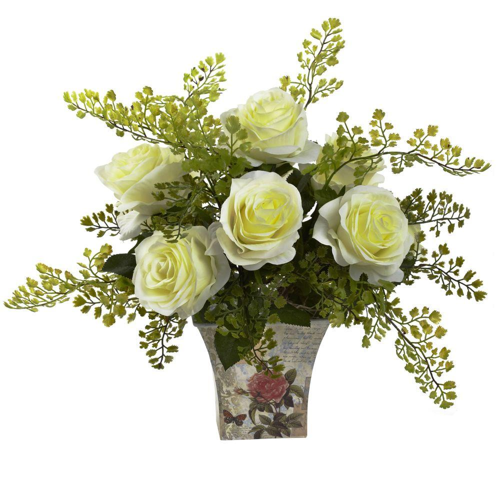 Nearly Natural Rose And Maiden Hair With Floral Planter 1379 Wh - Which-artificial-flower-colors-are-good-for-a-home