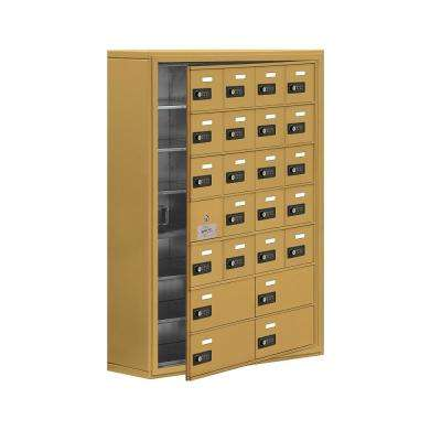 19100 Series 30.5 in. W x 42 in. H x 9.25 in. D 23 Doors Cell Phone Locker Surface Mount Resettable Lock in Gold