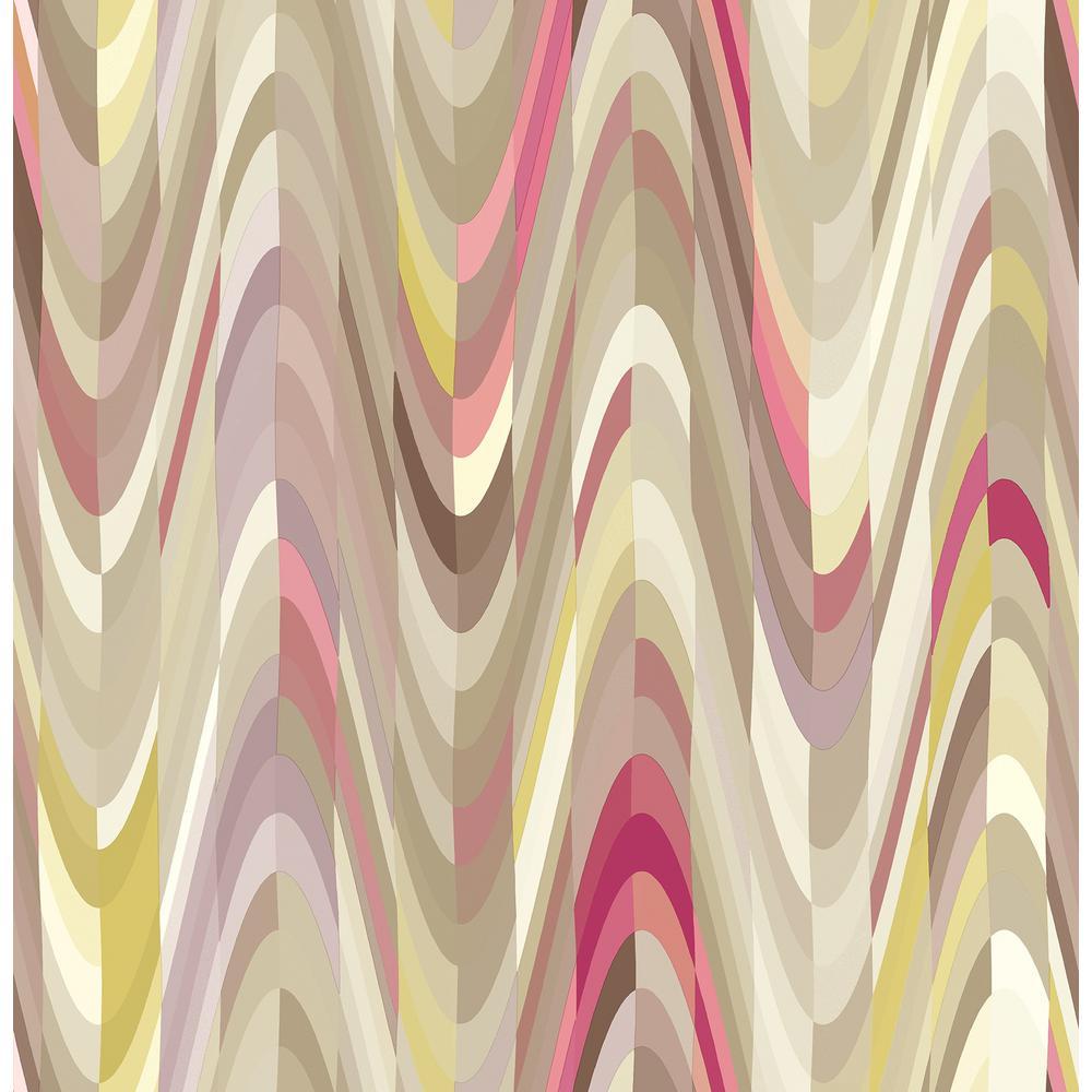 Jayden, Aurora Pink Geometric Wave Wallpaper