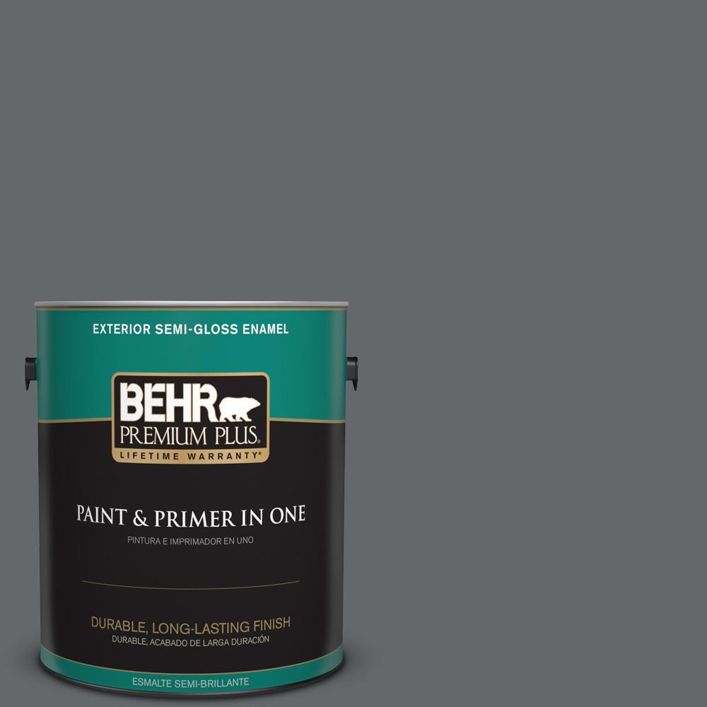 1 gal. #PPU26-02 Imperial Gray Semi-Gloss Enamel Exterior Paint
