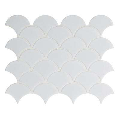 Retro Gray Scallop 13.11 in. x 9.96 in. x 6 mm Porcelain Mesh-Mounted Mosaic Tile