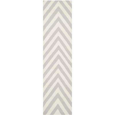 Dhurries Gray/Ivory 3 ft. x 10 ft. Runner Rug