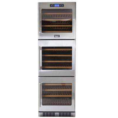 133-Bottle Triple Zone Wine Cooler Built-in with Compressor in Stainless Steel