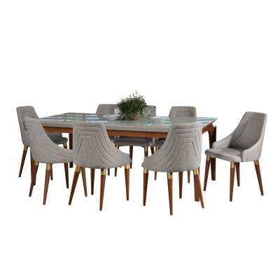 Payson 82.67 in. and Utopia 2.0 9-Piece White Gloss and Grey Dining Set