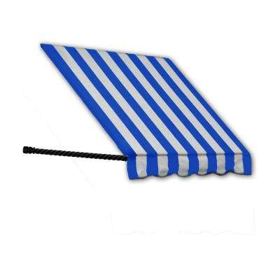 4 ft. Santa Fe Twisted Rope Arm Window Awning (44 in. H x 24 in. D) in Bright Blue/White Stripe