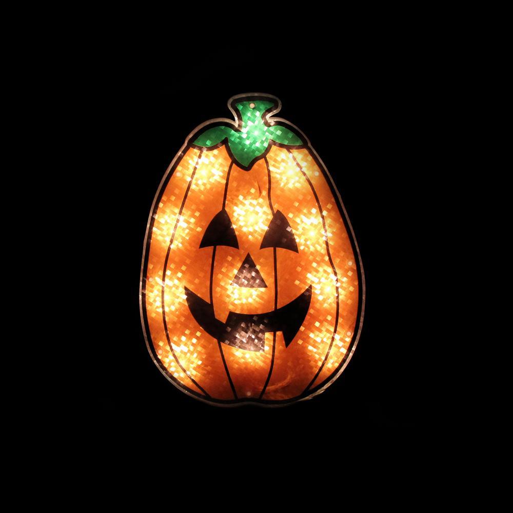 12 in. Orange Holographic Lighted Pumpkin Halloween Window Silhouette Decoration
