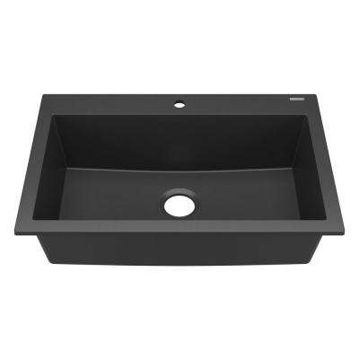 Camille Drop-In/Undermount Granite Composite 33 in. 1-Hole Single Bowl Kitchen Sink in Matte Charcoal Black
