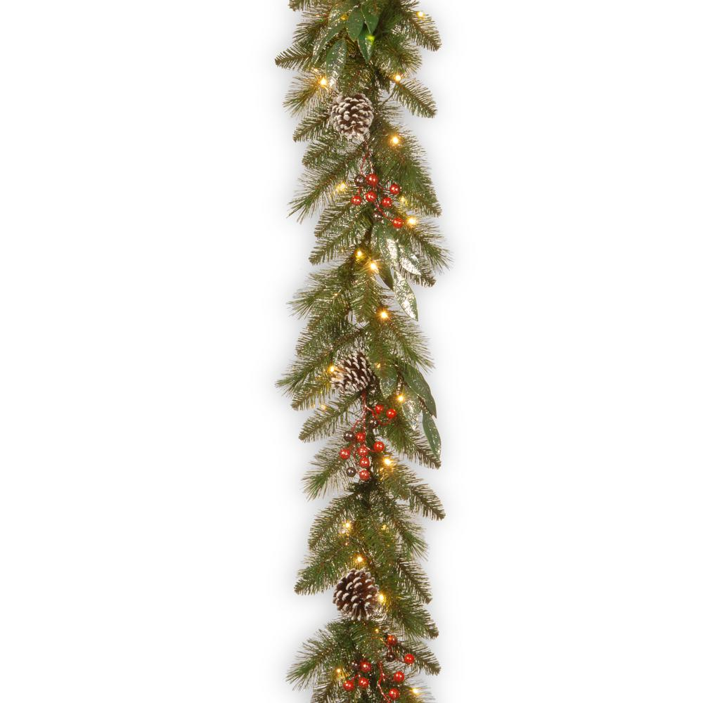 National Tree Company 9 ft. x 12 in. Frosted Pine Berry Collection Garlands with Cones, Red Berries, Silver Glittered Eucalyptus Leaves