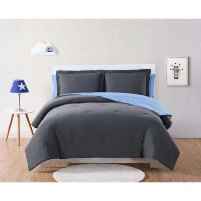 Kids Solid Jersey Charcoal and Blue Twin XL Bed in a Bag