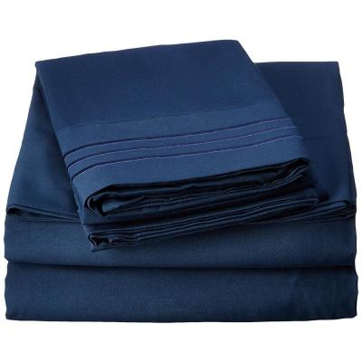 1500 Series 4-Piece Navy Blue Triple Marrow Embroidered Pillowcases Microfiber Twin XL Size Bed Sheet Set