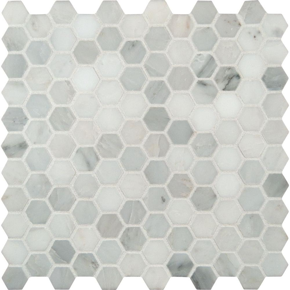 Msi Greecian White Hexagon 12 In X 10mm Honed Marble Mesh Mounted Mosaic Tile 8 9 Sq Ft Case Smot Ara 1hex The Home Depot